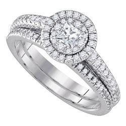 14kt White Gold Princess Diamond Halo Bridal Wedding Engagement Ring Band Set 3/4 Cttw