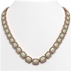 53.59 ctw Opal & Diamond Micro Pave Halo Necklace 10K Rose Gold