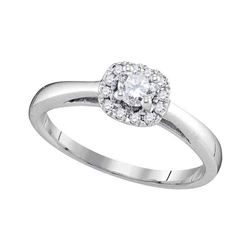 10kt White Gold Round Diamond Solitaire Bridal Wedding Engagement Ring 1/3 Cttw
