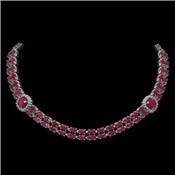43.97 ctw Ruby & Diamond Necklace 14K White Gold