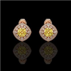 3.89 ctw Canary Citrine & Diamond Victorian Earrings 14K Rose Gold
