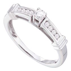 14kt White Gold Round Diamond Solitaire Bridal Wedding Engagement Ring 1/4 Cttw