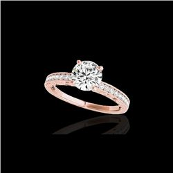 1.18 ctw Certified Diamond Solitaire Antique Ring 10K Rose Gold
