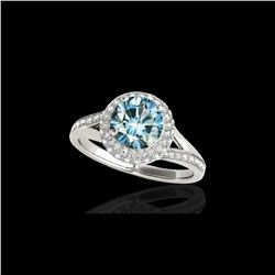 1.85 ctw SI Certified Fancy Blue Diamond Halo Ring 10K White Gold