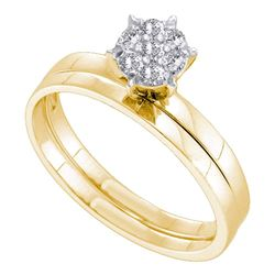 10kt Yellow Gold Round Diamond Cluster Bridal Wedding Engagement Ring Band Set 1/6 Cttw