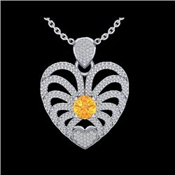 3 ctw Citrine With Micro Pave Diamond Heart Necklace 14K White Gold
