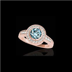 2 ctw SI Certified Blue Diamond Solitaire Halo Ring 10K Rose Gold