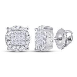 14kt White Gold Princess Diamond Fashion Cluster Earrings 1.00 Cttw