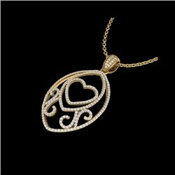 1.75 ctw Micro Pave VS/SI Diamond Heart Necklace 18K Yellow Gold
