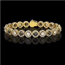 8.83 ctw Black & Diamond Micro Pave Bracelet 18K Yellow Gold