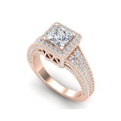 3.5 ctw Princess VS/SI Diamond Micro Pave Ring 18K Rose Gold