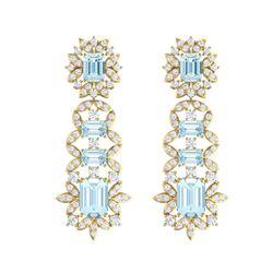 33.36 ctw Sky Topaz & VS Diamond Earrings 18K Yellow Gold