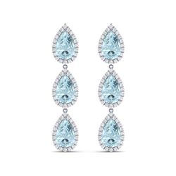 27.3 ctw Sky Topaz & VS Diamond Earrings 18K White Gold