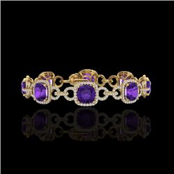 30 ctw Amethyst & Micro VS/SI Diamond Bracelet 14K Yellow Gold