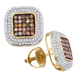 10kt Yellow Gold Round Brown Diamond Square Cluster Earrings 1/2 Cttw
