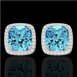 6.50 ctw Sky Blue Topaz & Micro VS/SI Diamond Earrings 18K White Gold