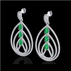 4 ctw Emerald & Micro Pave VS/SI Diamond Earrings 18K White Gold