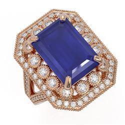 11.98 ctw Certified Sapphire & Diamond Victorian Ring 14K Rose Gold
