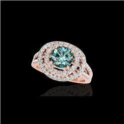 1.75 ctw SI Certified Fancy Blue Diamond Halo Ring 10K Rose Gold