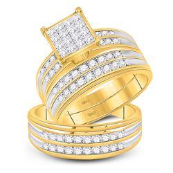 14kt Yellow Gold His & Hers Princess Diamond Cluster Matching Bridal Wedding Ring Band Set 1-1/2 Ctt