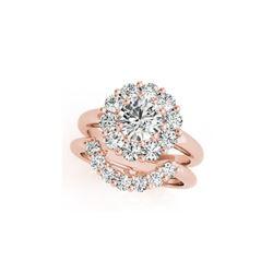 2.59 ctw Certified VS/SI Diamond 2pc Wedding Set Halo 14K Rose Gold