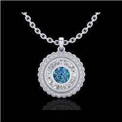 2.11 ctw Fancy Intense Blue Diamond Art Deco Necklace 18K White Gold