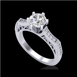1.25 ctw VS/SI Diamond Solitaire Art Deco Ring 18K White Gold