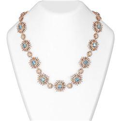 41.23 ctw Aquamarine & Diamond Necklace 18K Rose Gold