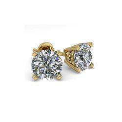 1.0 ctw VS/SI Diamond Stud Designer Earrings 18K Yellow Gold