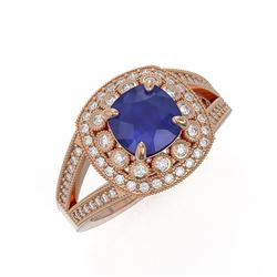 2.69 ctw Certified Sapphire & Diamond Victorian Ring 14K Rose Gold