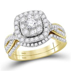 14kt Yellow Gold Round Diamond Halo Bridal Wedding Engagement Ring Band Set 1.00 Cttw