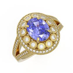 4.76 ctw Certified Tanzanite & Diamond Victorian Ring 14K Yellow Gold