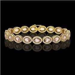14.25 ctw Morganite & Diamond Micro Pave Halo Bracelet 10K Yellow Gold