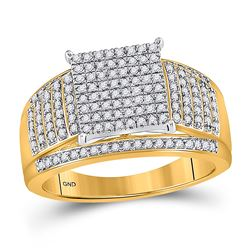 10kt Yellow Gold Round Diamond Elevated Square Cluster Ring 1/2 Cttw