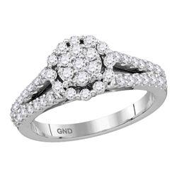 14kt White Gold Round Diamond Flower Cluster Split-shank Ring 3/4 Cttw