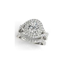 2.01 ctw Certified VS/SI Diamond 2pc Wedding Set Halo 14K White Gold
