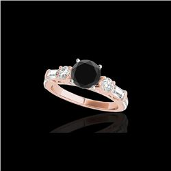 2 ctw Certified VS Black Diamond Pave Solitaire Ring 10K Rose Gold