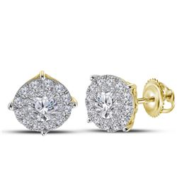 14kt Yellow Gold Round Diamond Cluster Earrings 2.00 Cttw