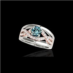 1.55 ctw SI Certified Blue Diamond Solitaire Ring 10K White & Rose Gold
