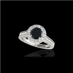 1.7 ctw Certified VS Black Diamond Solitaire Halo Ring 10K White Gold