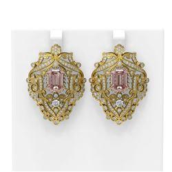 13.01 ctw Morganite & Diamond Earrings 18K Yellow Gold
