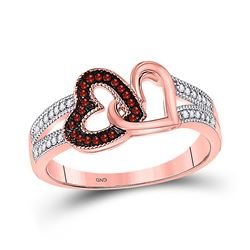 10kt Rose Gold Round Red Color Enhanced Diamond Double Heart Ring 1/6 Cttw