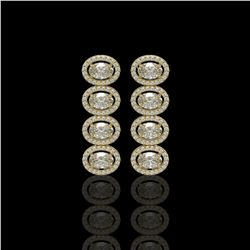 5.33 ctw Oval Cut Diamond Micro Pave Earrings 18K Yellow Gold