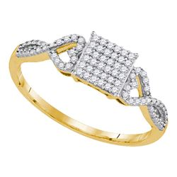 10kt Yellow Gold Round Diamond Square Cluster Ring 1/5 Cttw
