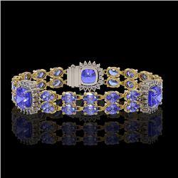 19.6 ctw Tanzanite & Diamond Bracelet 14K Yellow Gold