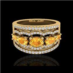 2.25 ctw Citrine & Micro Pave VS/SI Diamond Designer Ring 10K Yellow Gold