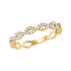 14kt Yellow Gold Round Diamond Twisted Stackable Band Ring 1/5 Cttw
