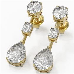 5 ctw Pear Cut Diamond Designer Earrings 18K Yellow Gold