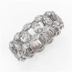 6.89 ctw Pear and Marquise Diamond Eternity Band 18K White Gold