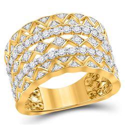14kt Yellow Gold Round Diamond Modern Zigzag Band Ring 1-1/5 Cttw
